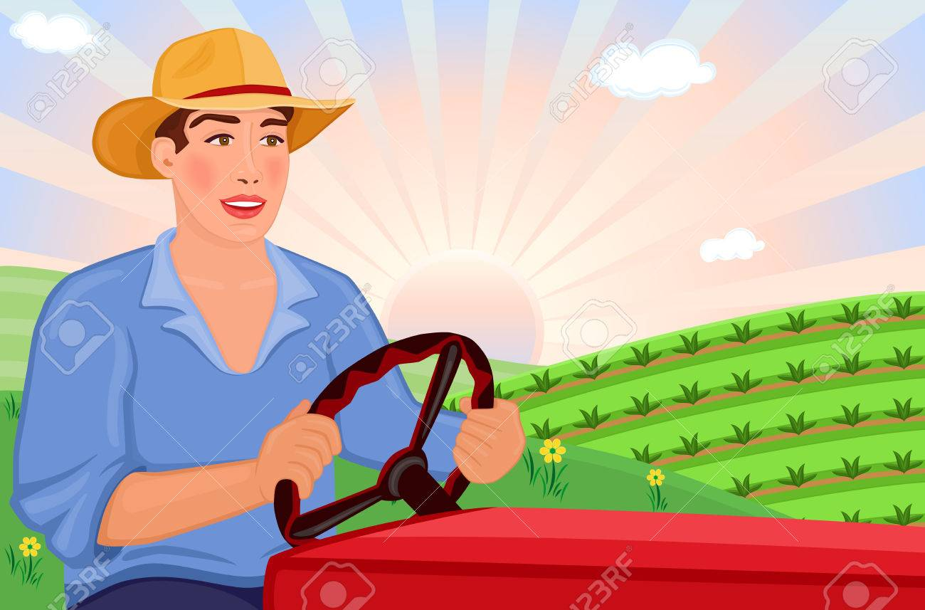 Farmer driving his tractor on the fields - vector EPS AI8 Stock Vector - 6517507