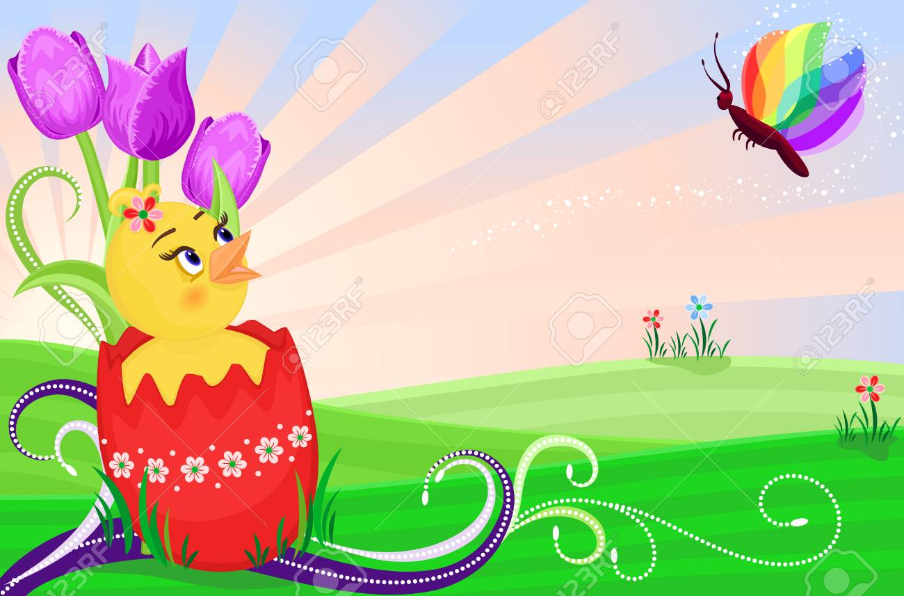 Easter card with cute chick and purple tulips. Stock Vector - 6614061