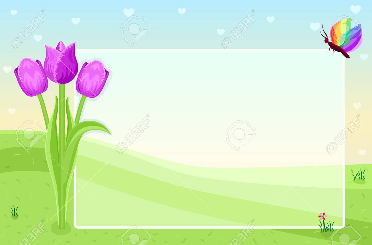 Blank greeting card with tulips - 6653139