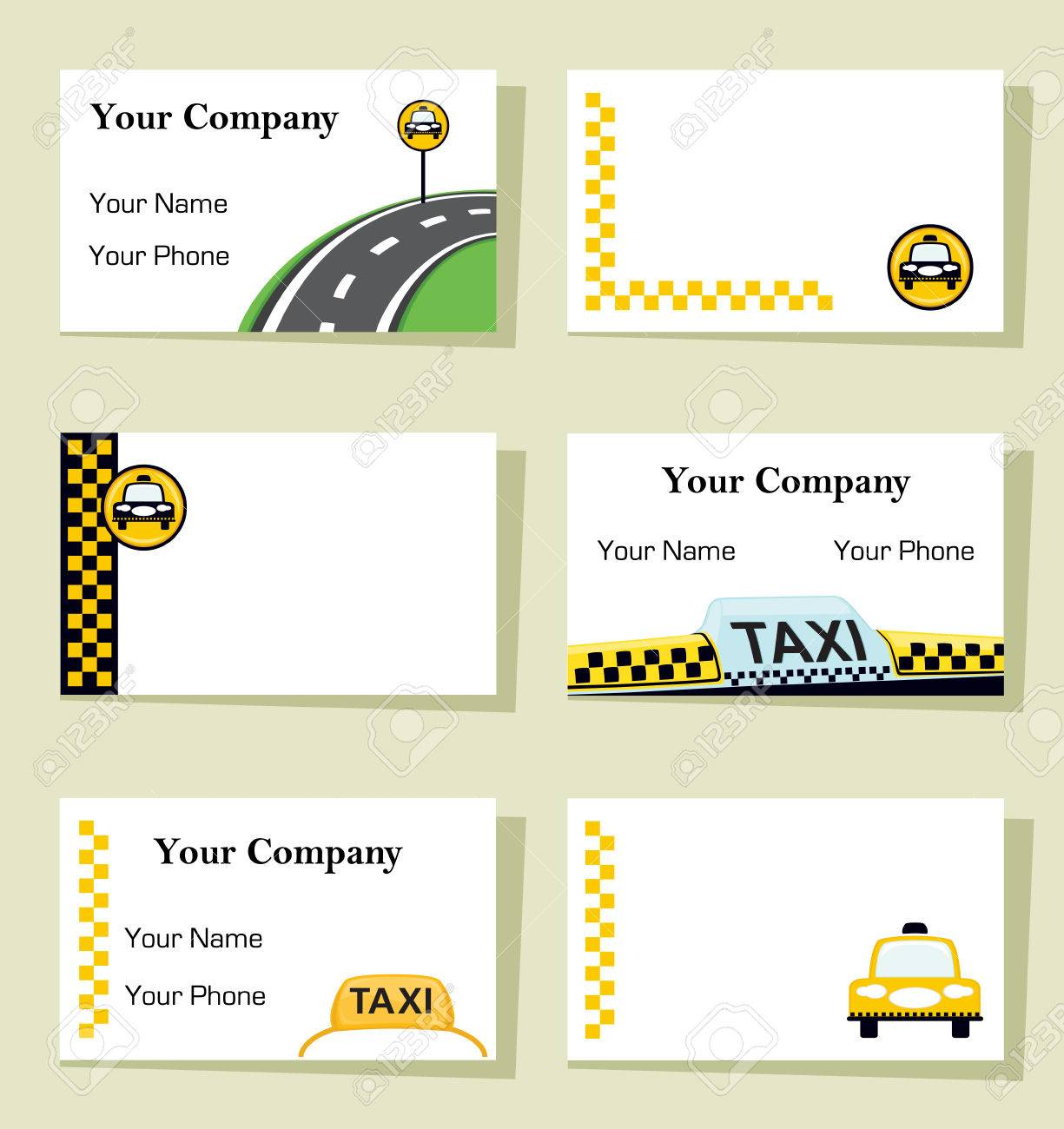 Set Of Six Business Cards For Taxi Companies. CMYK Colors, Bleed ...