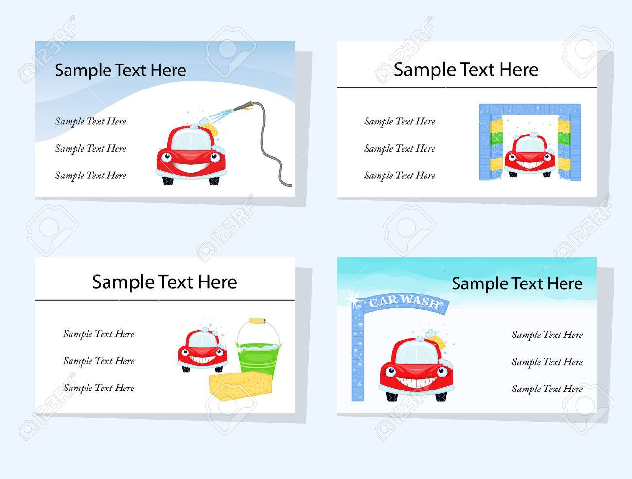 Set of four business cards suitable for car washing and cleaning set of four business cards suitable for car washing and cleaning services cmyk colours magicingreecefo Gallery