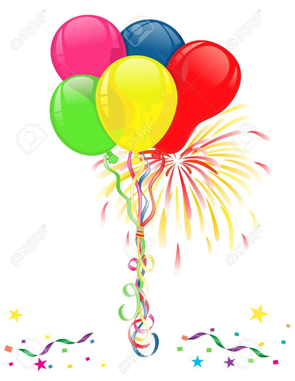globos de colores fuegos y confetis para fiestas y aislados sobre fondo