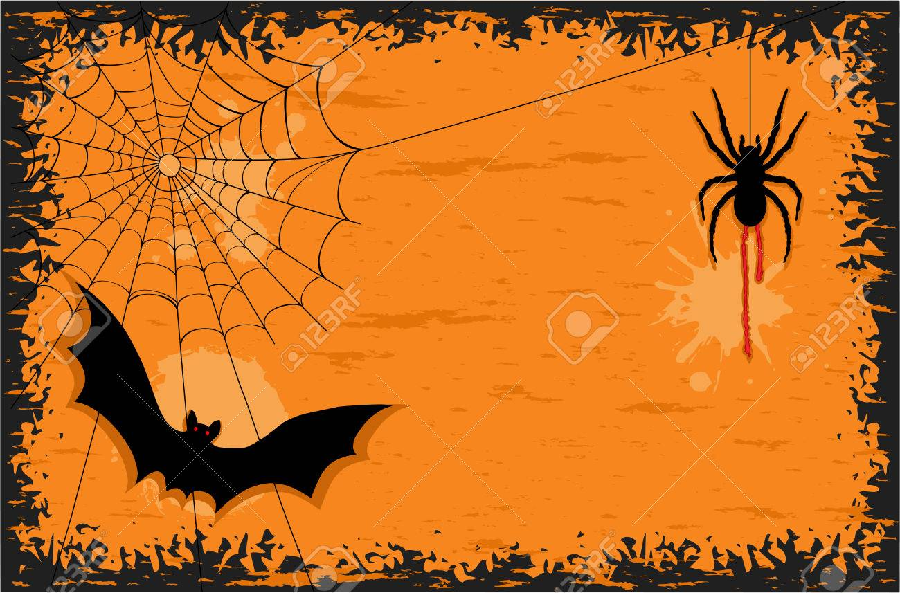 Halloween Party With Creepy Spider And Scary Bat. AI 8, No ...