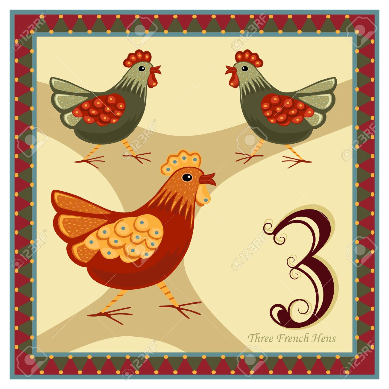 the 12 days of christmas 3 rd day three french hens stock vector