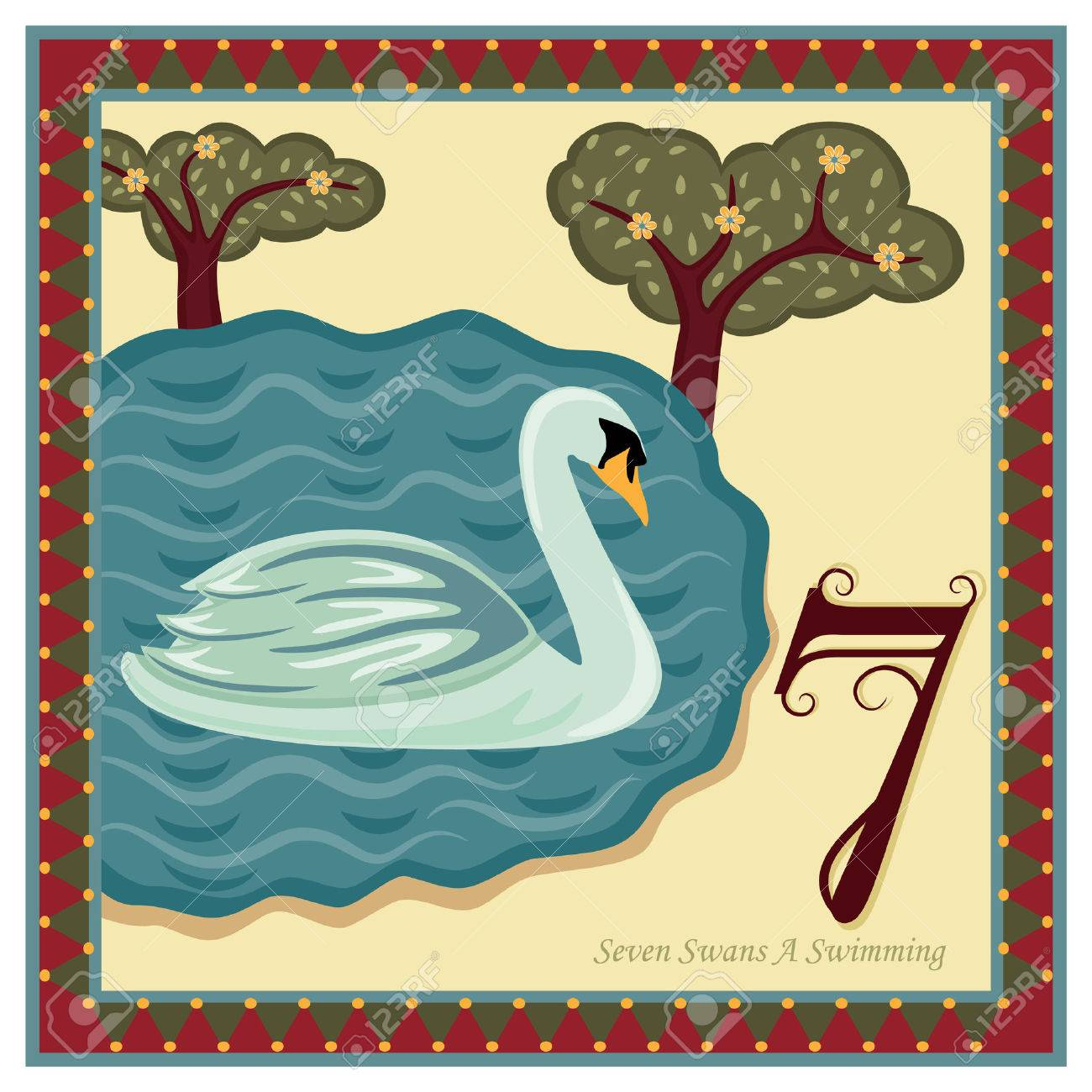 The 12 Days of Christmas - 7th Day - Seven Swans A Swimming Stock Vector - 8188505