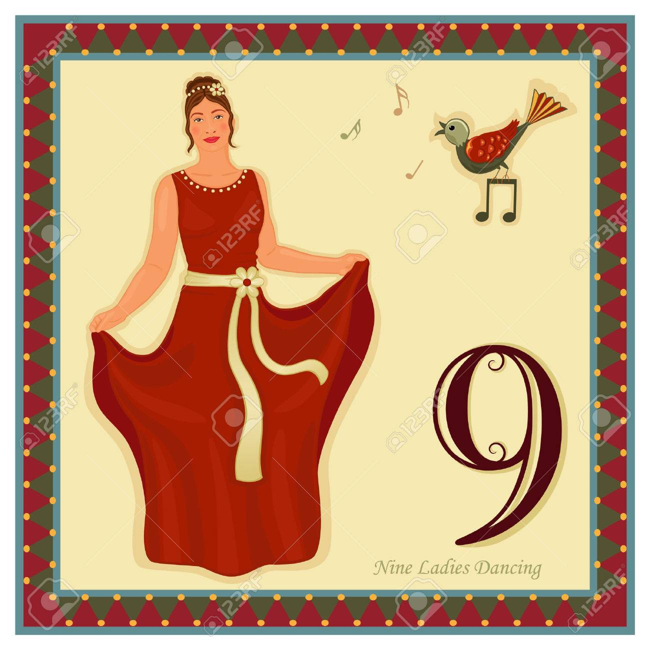 The 12 Days of Christmas - 9-th Day - Nine ladies dancing Stock Vector - 8335956