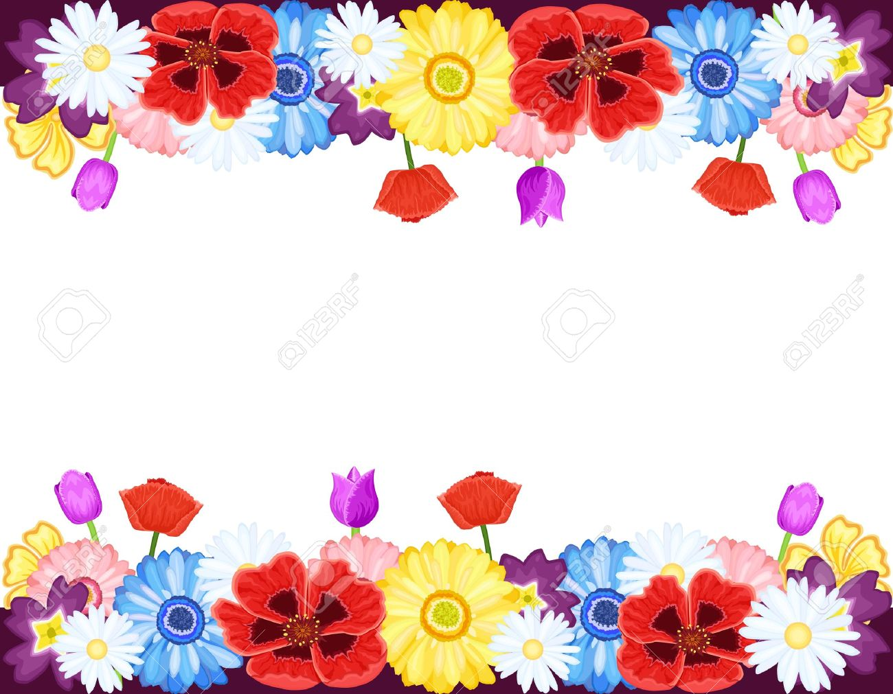 Beautiful Flowers Borders Spring And Summer Royalty Free Cliparts