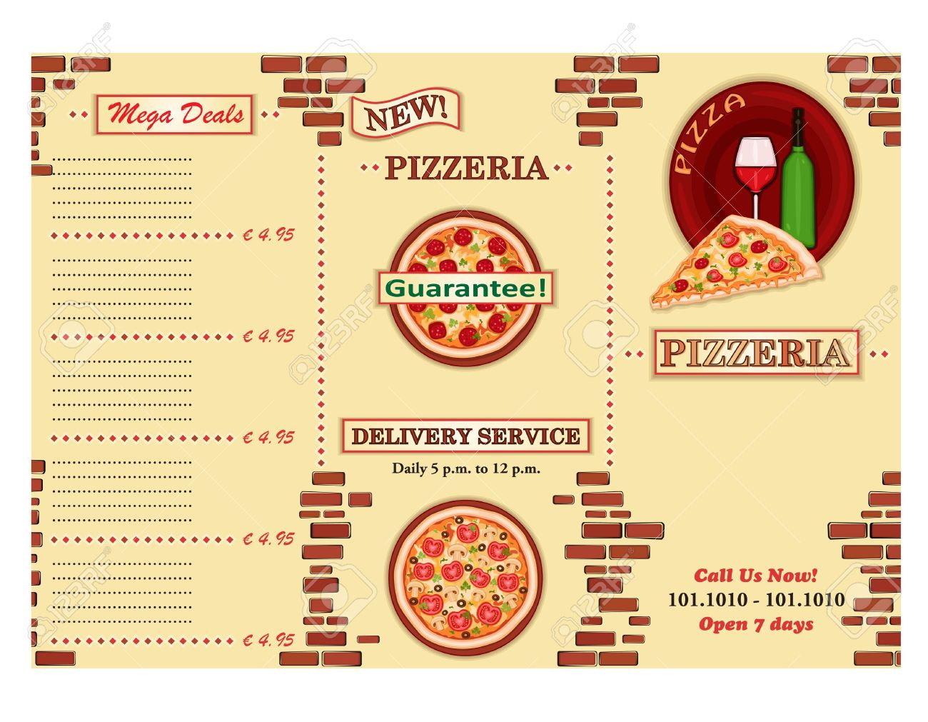 Pizzeria - take away Italian restaurant leaflet. Three fold, standard size A 4. Stock Vector - 10257253