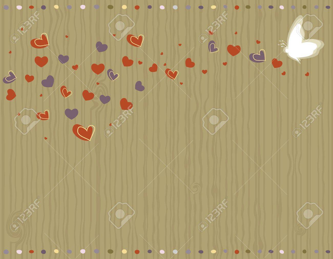Valentine Day - love greeting card with hearts and butterfly. Stock Vector - 12073450