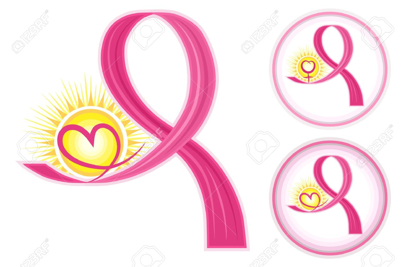 Hope for breast cancer - set of pink ribbons icons with heart and female gender symbol. Isolated over white backround. Stock Vector - 12475243
