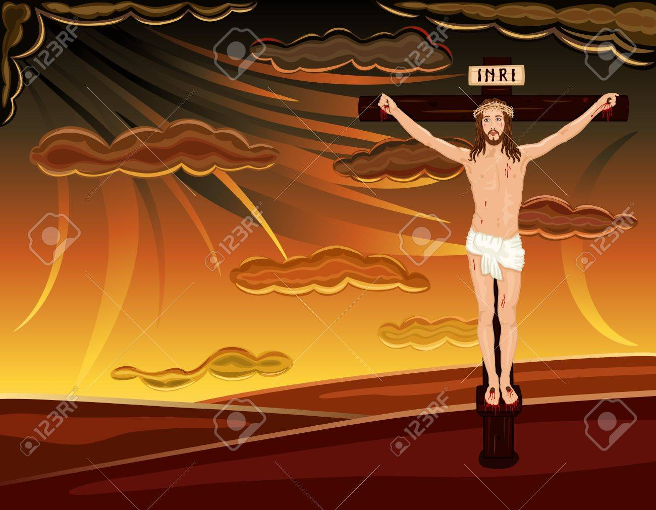 easter religious card with crucifixion of jesus on golgotha hill