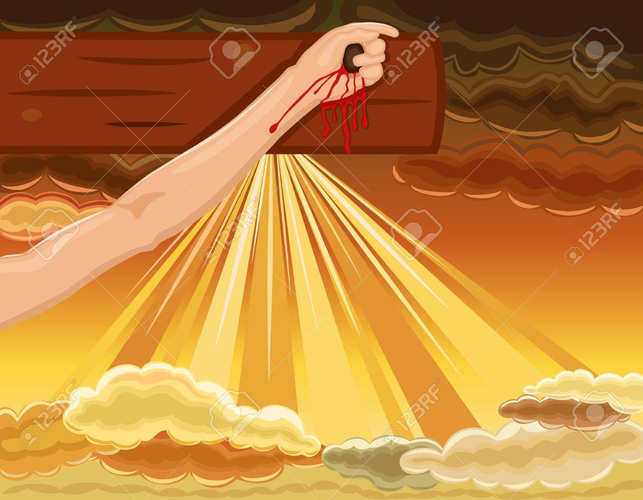 Easter religious card with hand of Jesus nailed to the cross. Over dramatic sky. Stock Vector - 12857886