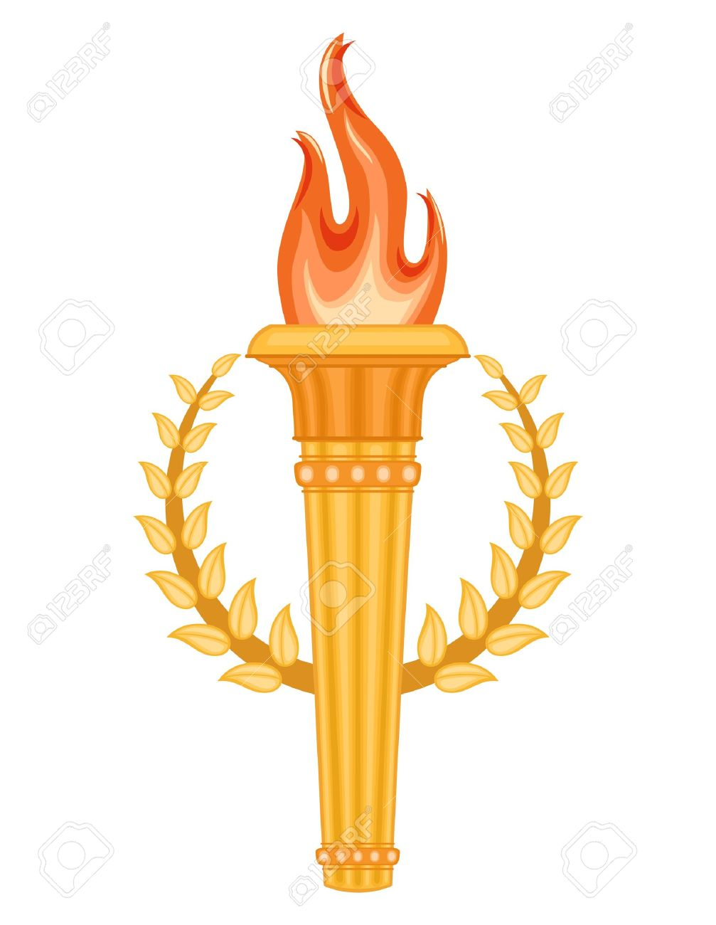 Greek sports competition Torch with golden crown of laurels. sports competitions games symbol. Isolated over white background Stock Photo - 13419027