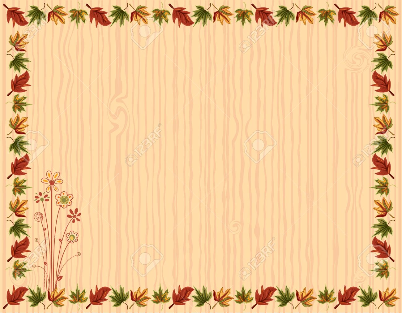 Autumn Greeting Card With Leaves Border And Floral Design Royalty ...