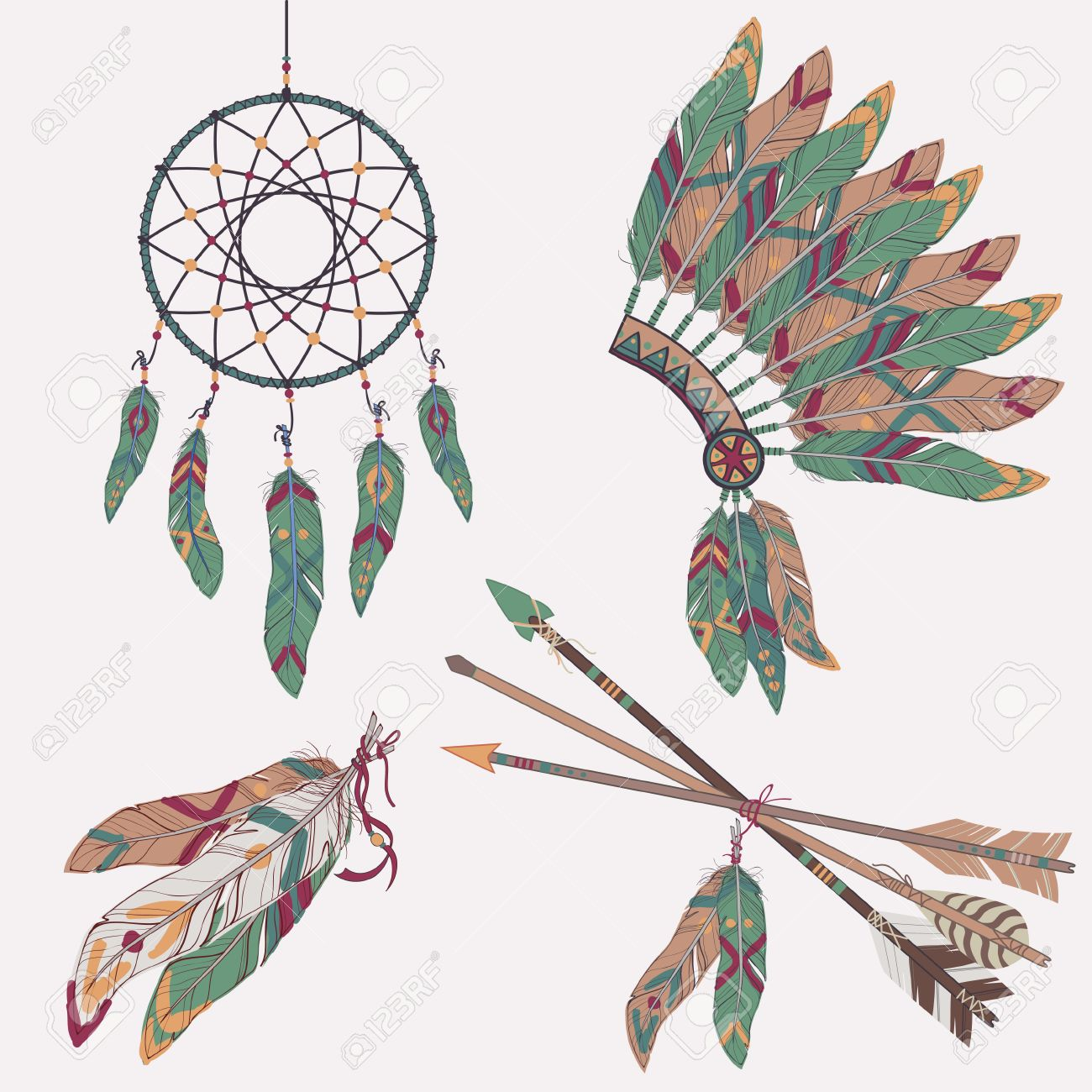 Vector Colorful Ethnic Set With Dream Catcher, Feathers, Arrows ...