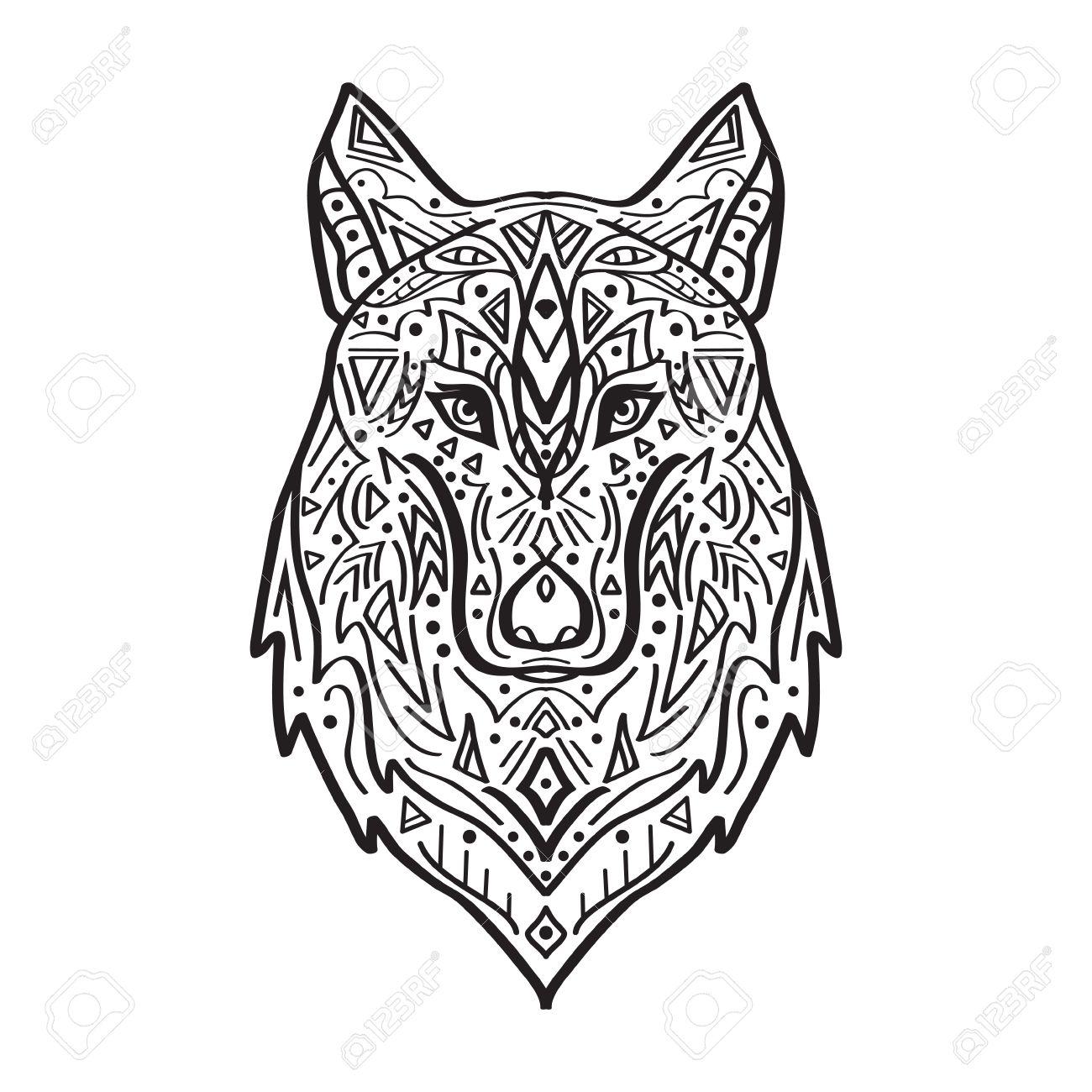 Vecteur Noir Et Blanc Illustration De Loup De Style Tribal Avec Des