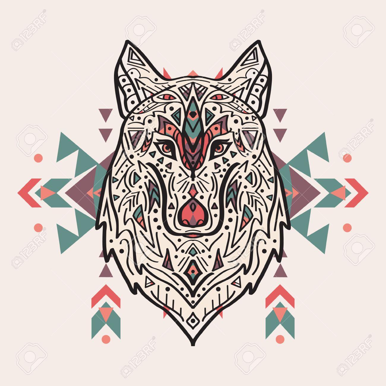 Vector Illustration Coloree De Loup De Style Tribal Avec Des
