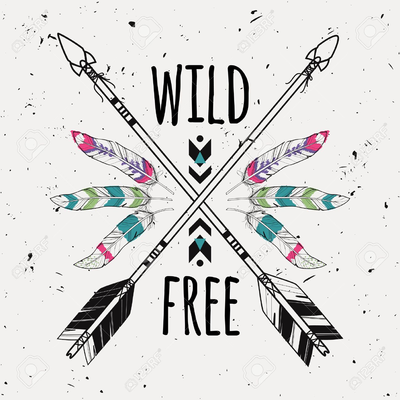 Vector Grunge Illustration With Crossed Ethnic Arrows Feathers And Tribal Ornament Boho Hippie