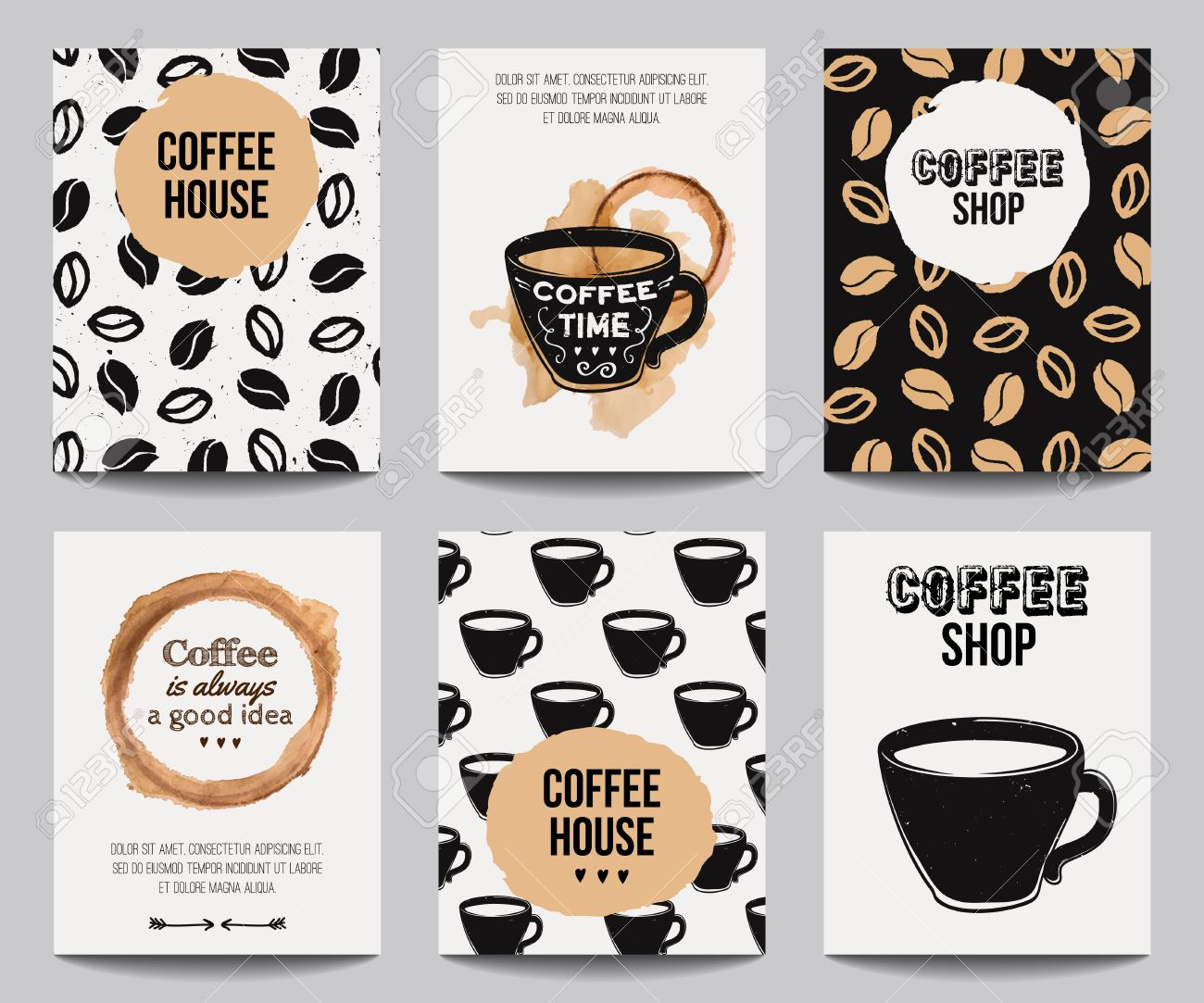 Vector set of modern posters with coffee backgrounds. Trendy hipster templates for flyers, banners, invitations, restaurant or cafe menu design. - 51570728