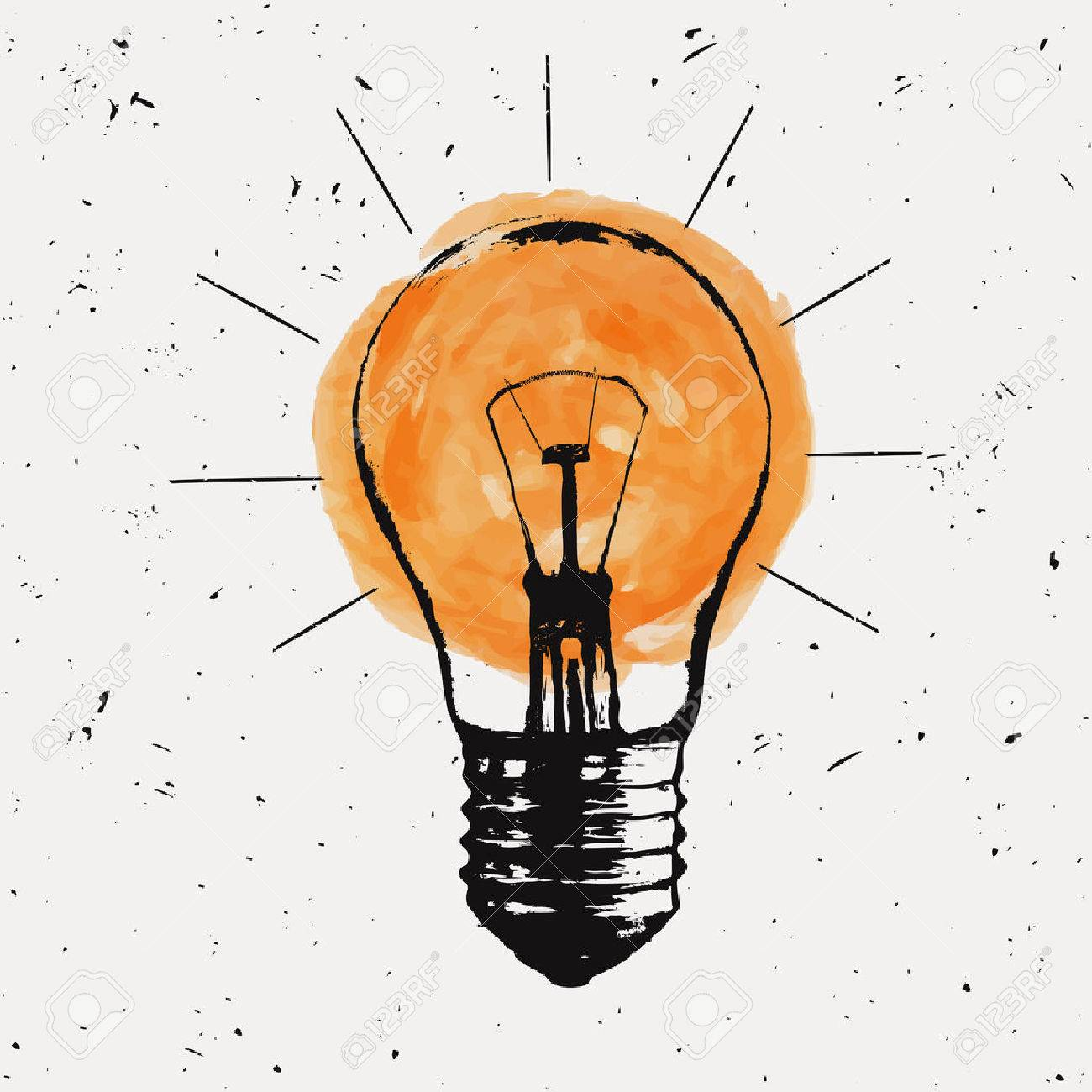 Vector grunge illustration with light bulb. Modern hipster sketch style. Idea and creative thinking concept. Banque d'images - 55723032