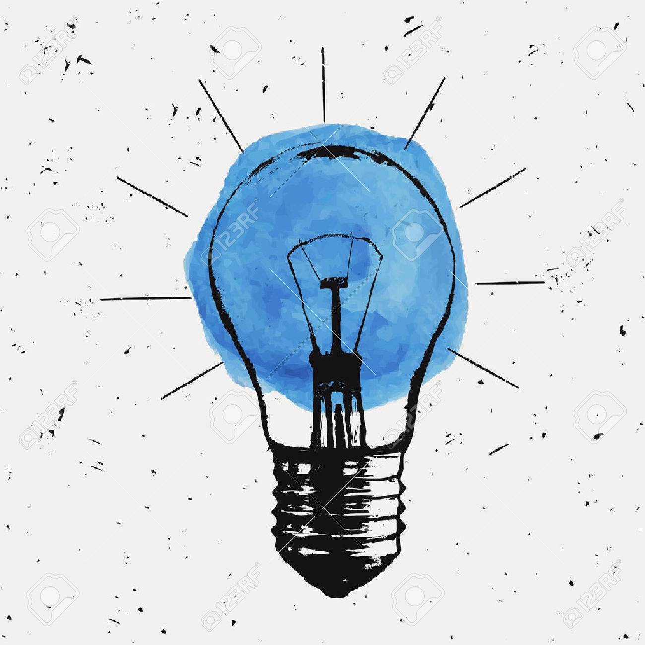 Vector grunge illustration with light bulb. Modern hipster sketch style. Idea and creative thinking concept. Standard-Bild - 55723217
