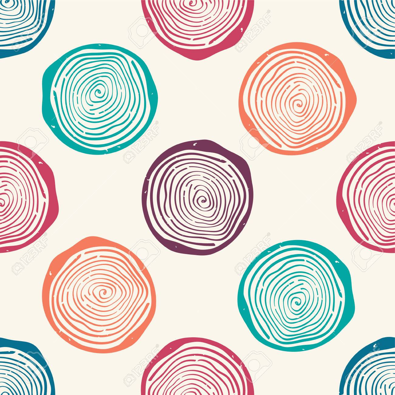 Vector grunge seamless pattern with tree rings. Modern rustic design. - 55723234