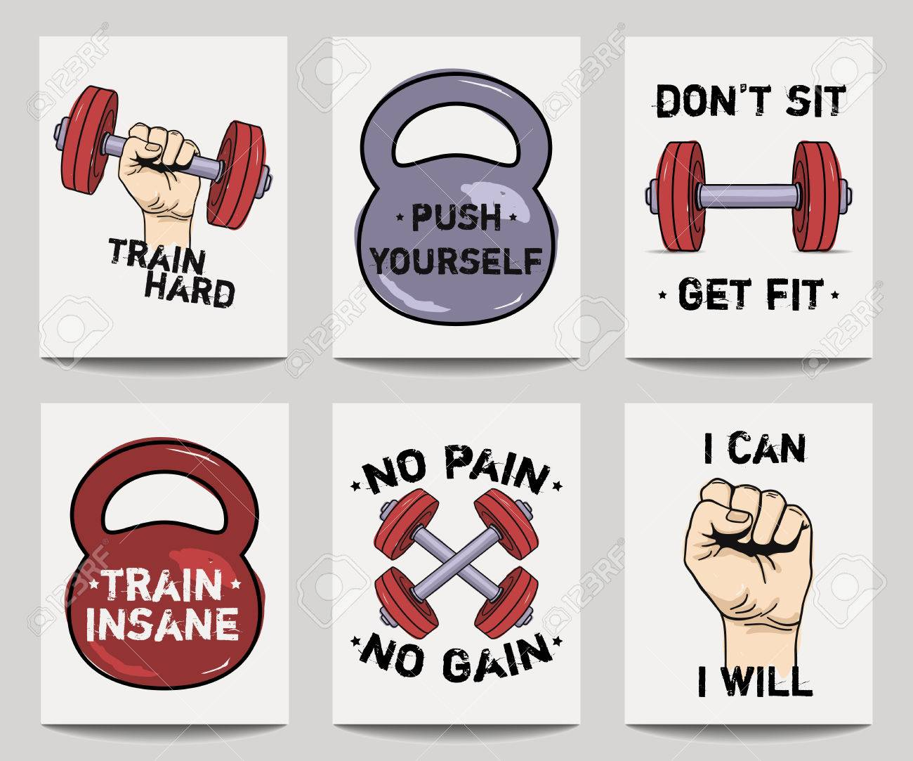 Motivational Phrases Vector Set Of Modern Fitness Templates With Hands Dumbbells