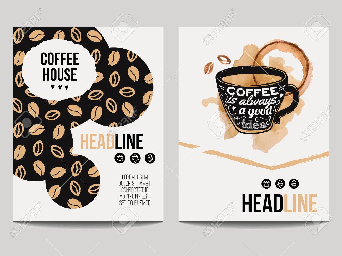 Vector set of modern posters with coffee backgrounds trendy trendy hipster templates with coffee beans pattern and cup with smear for flyers banners invitations restaurant or cafe menu design stopboris Image collections