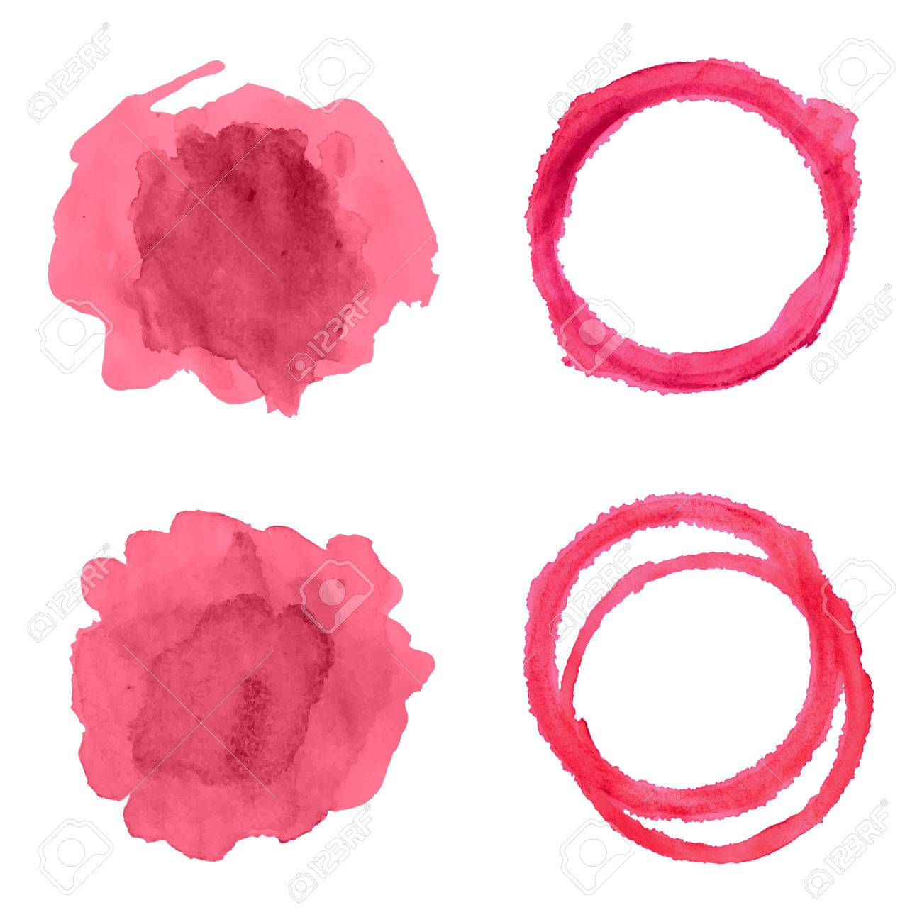 Vector set with different red wine stains isolated on white background. - 61135258