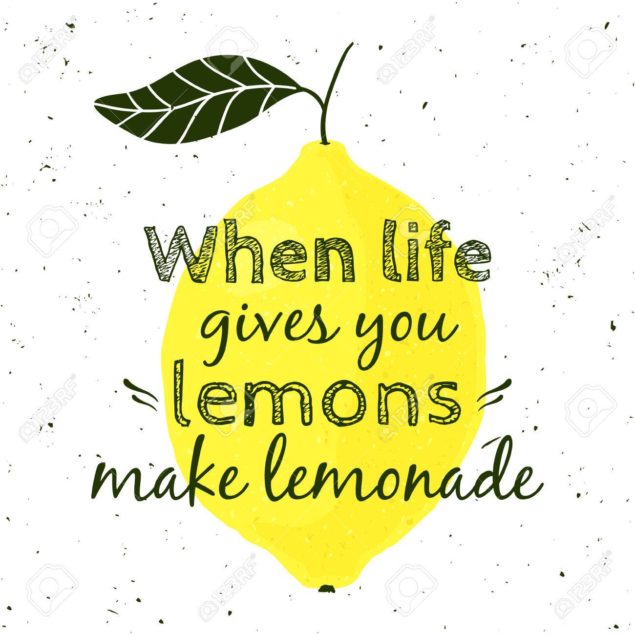 Illustration With Lemon And Motivational Quote When Life Gives