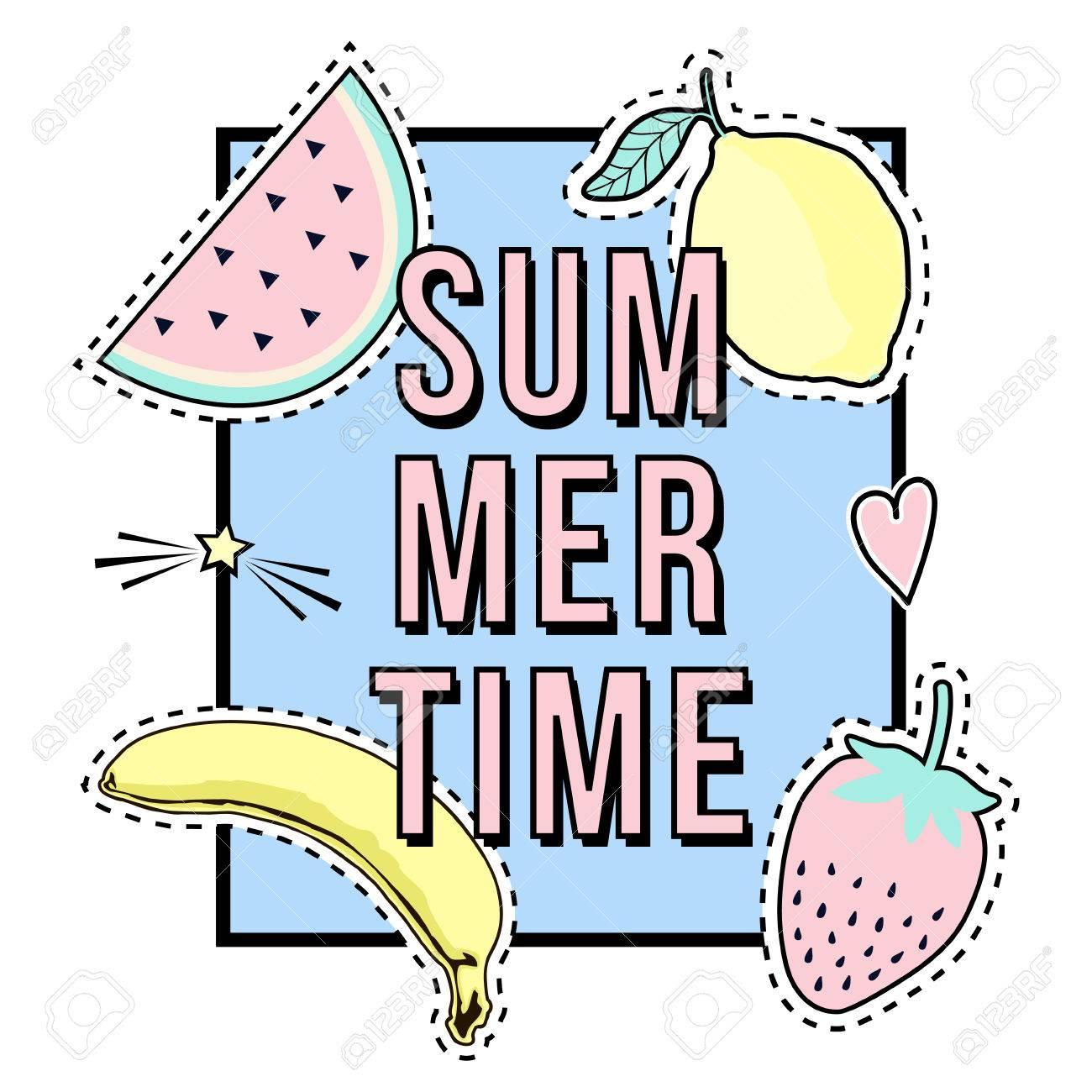 ベクトル夏の時間フレームとフルーツ パッチのバッジとかわいいイラスト