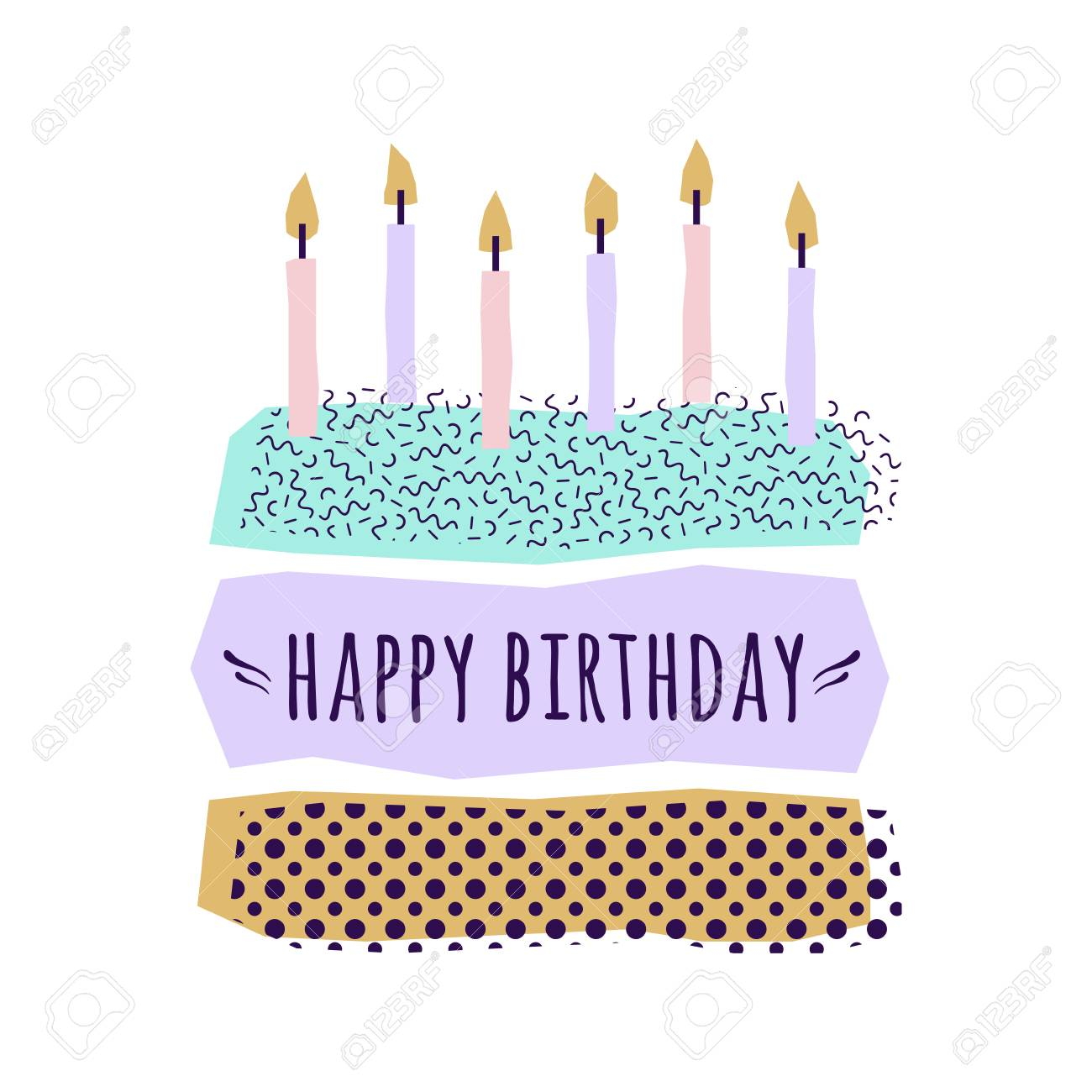 Vector Cute Happy Birthday Card With Cake Candles And Geometric