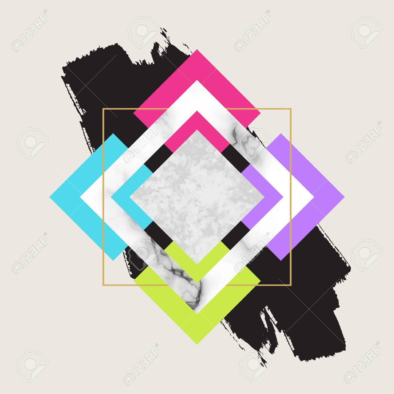 Vector Fondo Geométrico De Moda. Diseño Escandinavo Moderno Para ...