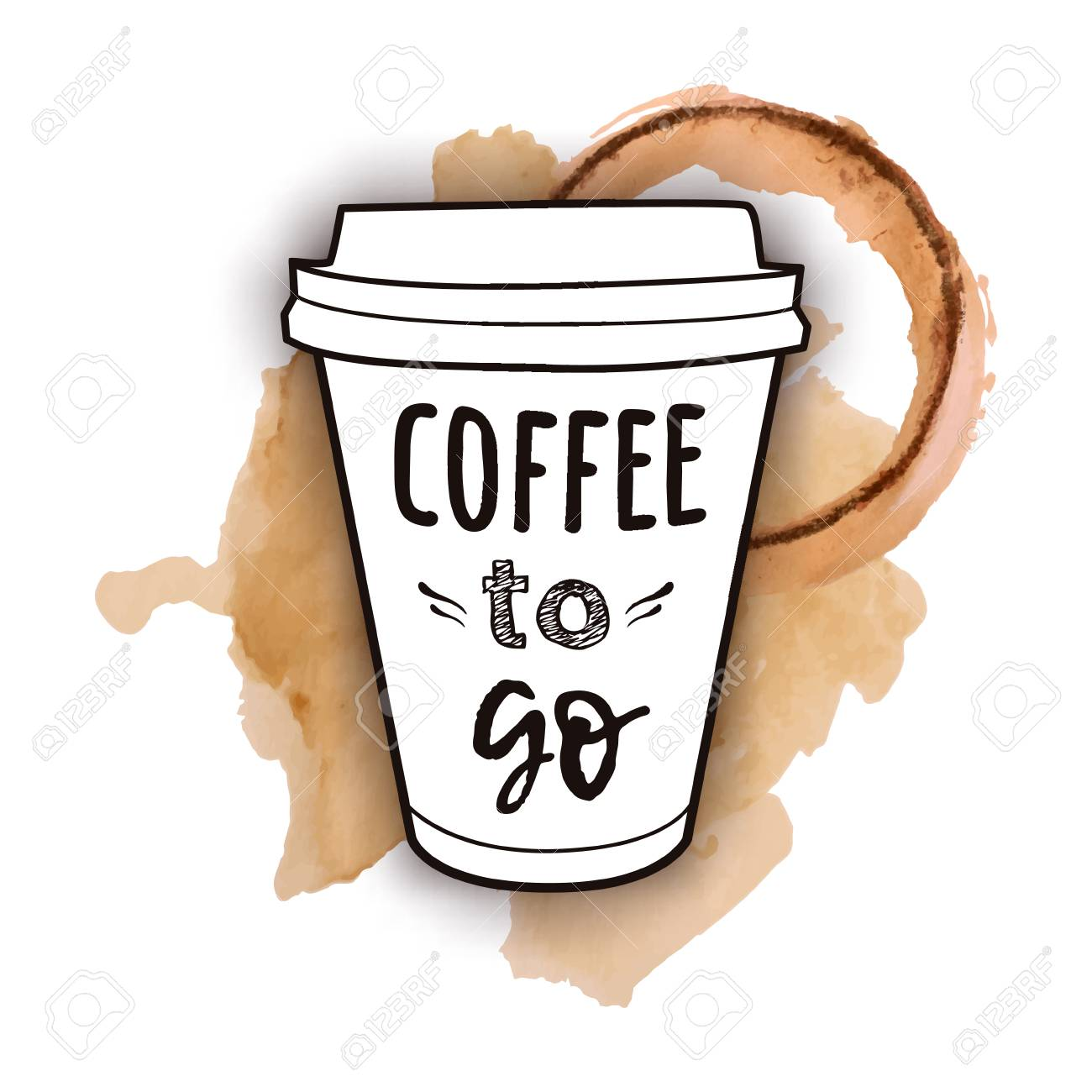 """Vector illustration of a take away coffee cup with phrase """"Coffee to go"""" with watercolor splashes of spilled coffee. Vintage drawing for drink and beverage menu or cafe design. - 104016519"""