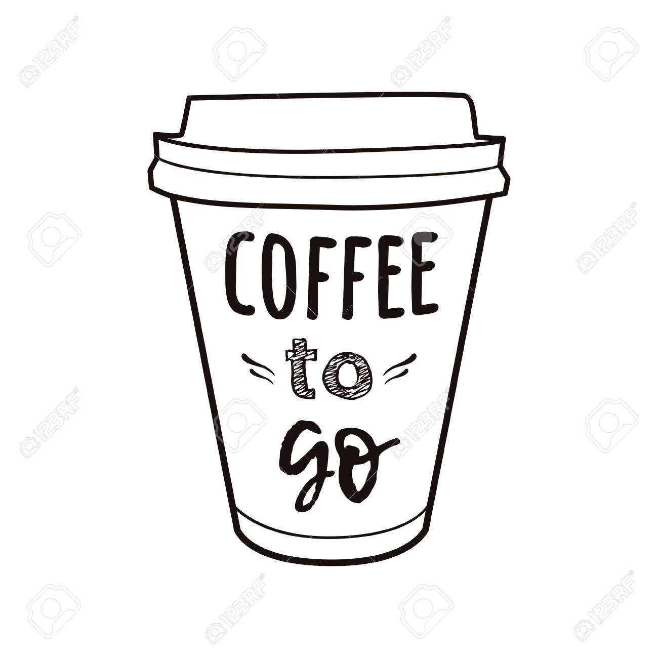 Vector Illustration Of A Take Away Coffee Cup With Phrase Coffee To Go Vintage Drawing For Drink And Beverage Menu Or Cafe Design Royalty Free Cliparts Vectors And Stock Illustration Image 104016525