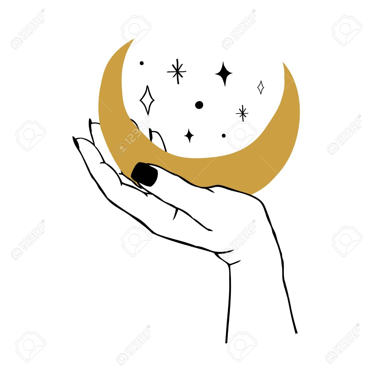 Vector illustration of women's hand holding Moon and stars. Trendy linear and minimal boho tattoo style for logo, emblem, t-shirt fashion print, stickers, skin care or cosmetics branding - 139577681
