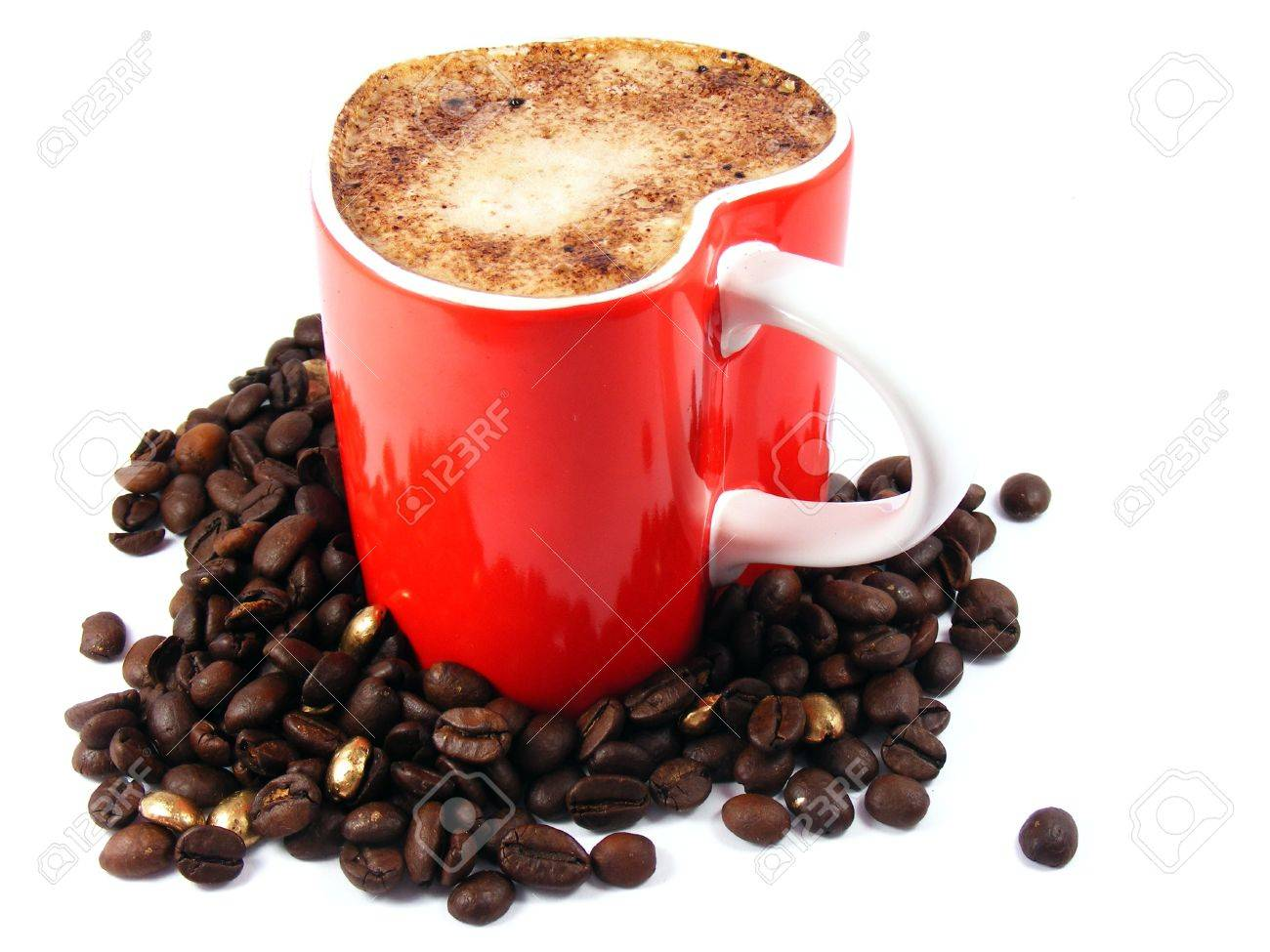 Romantic cappuccino coffee and roasted beans Stock Photo - 10703382