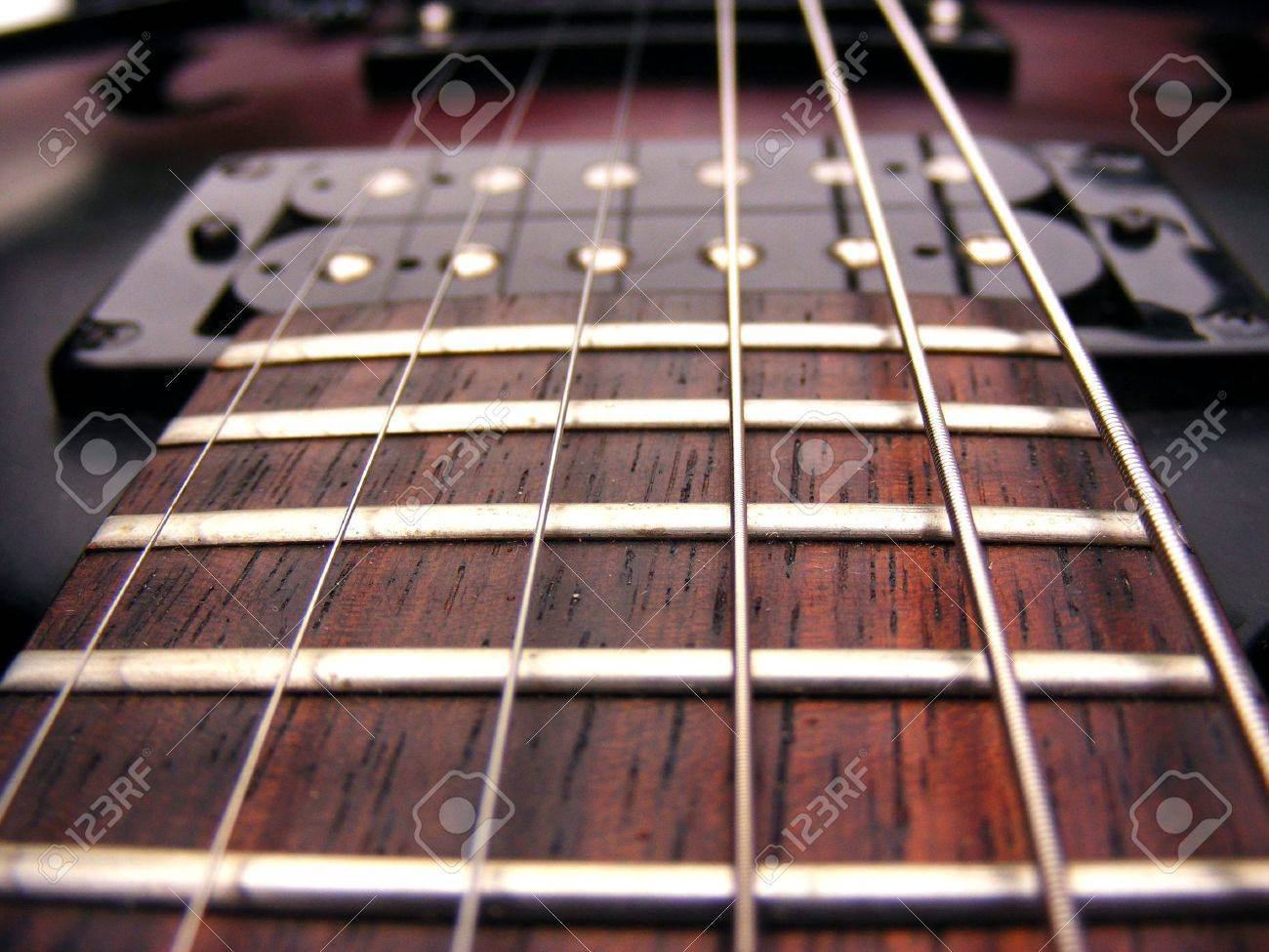 Guitar Strings Frets And Pick Ups Electric Guitar Stock Photo