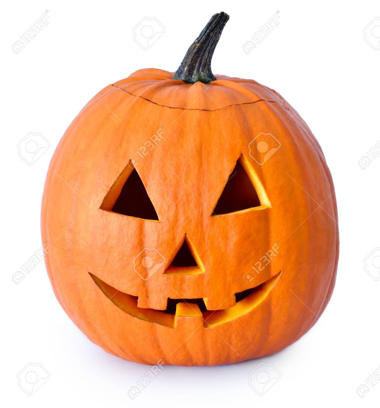 Pompoen Voor Halloween.Halloween Pompoen Met Eng Gezicht Jack O Lantern Geisoleerd Op Wit