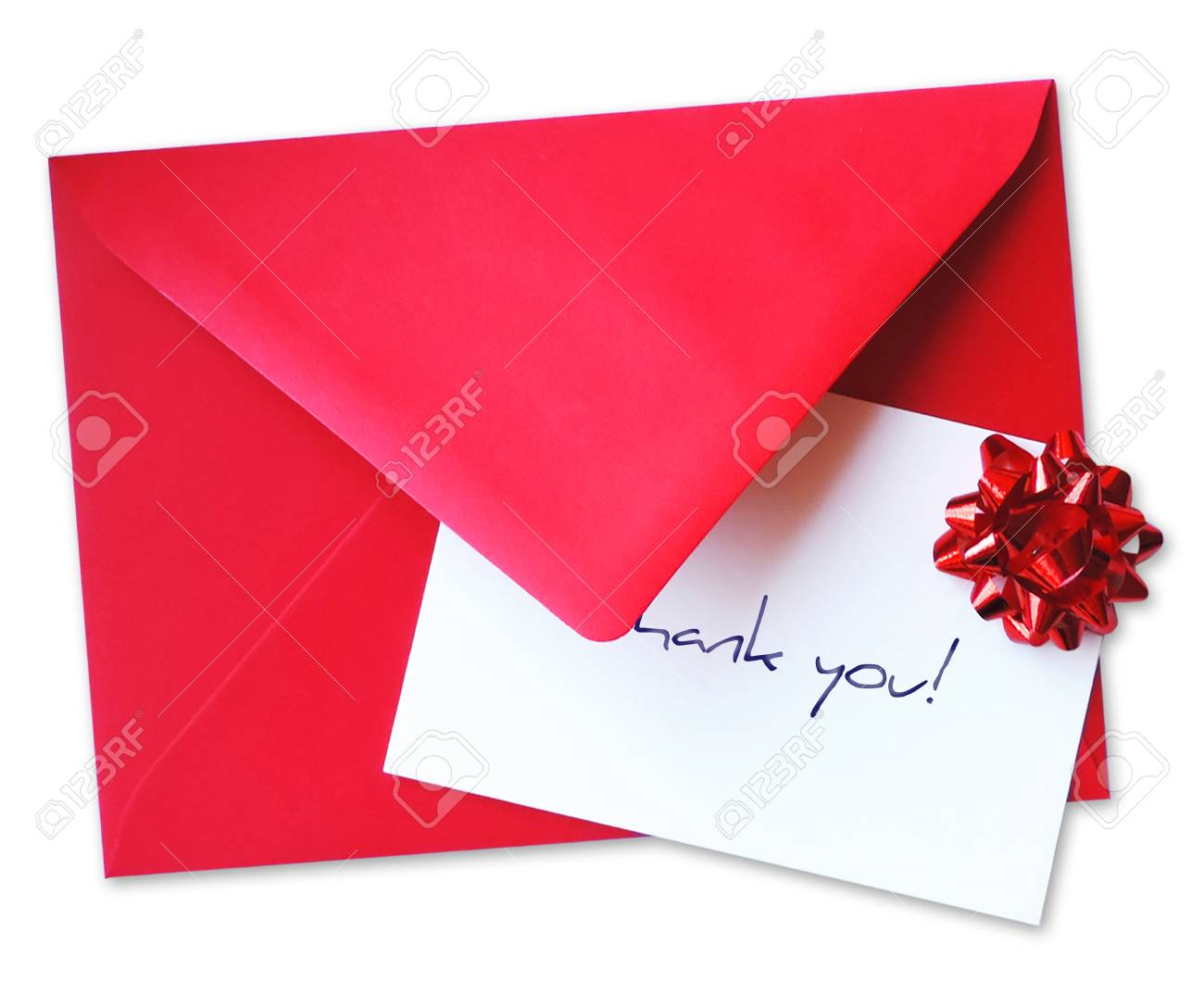 Red Envelope With Greeting Card And Thank You Writing With Red