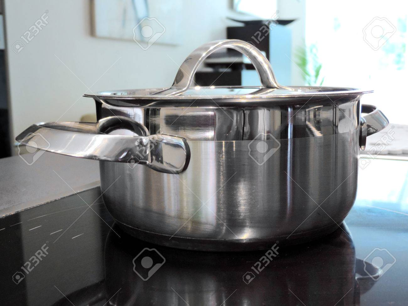 Cooking Pot On A Glass Ceramic Stove Top Stock Photo Picture And Royalty Free Image Image 64052084