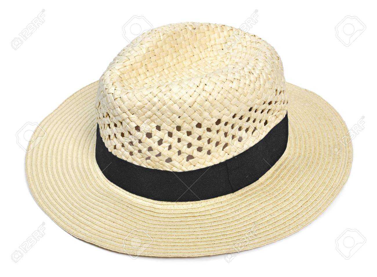 fecf9812b89d5 Panama hat, traditional summer has with black hatband or ribbon, isolated  on white background