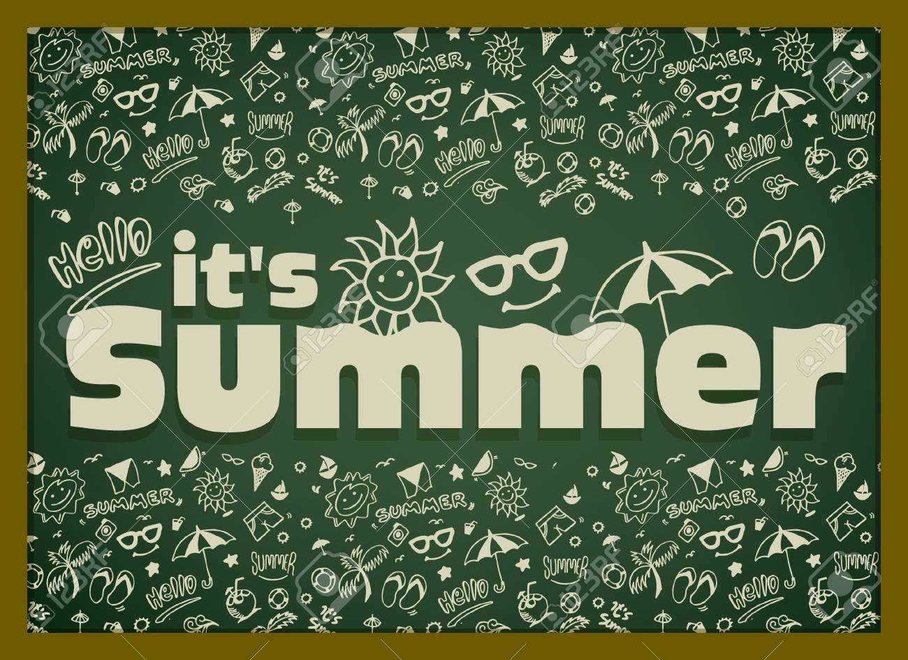 Vector Illustration With Hand Drawn Summer Elements Symbol And