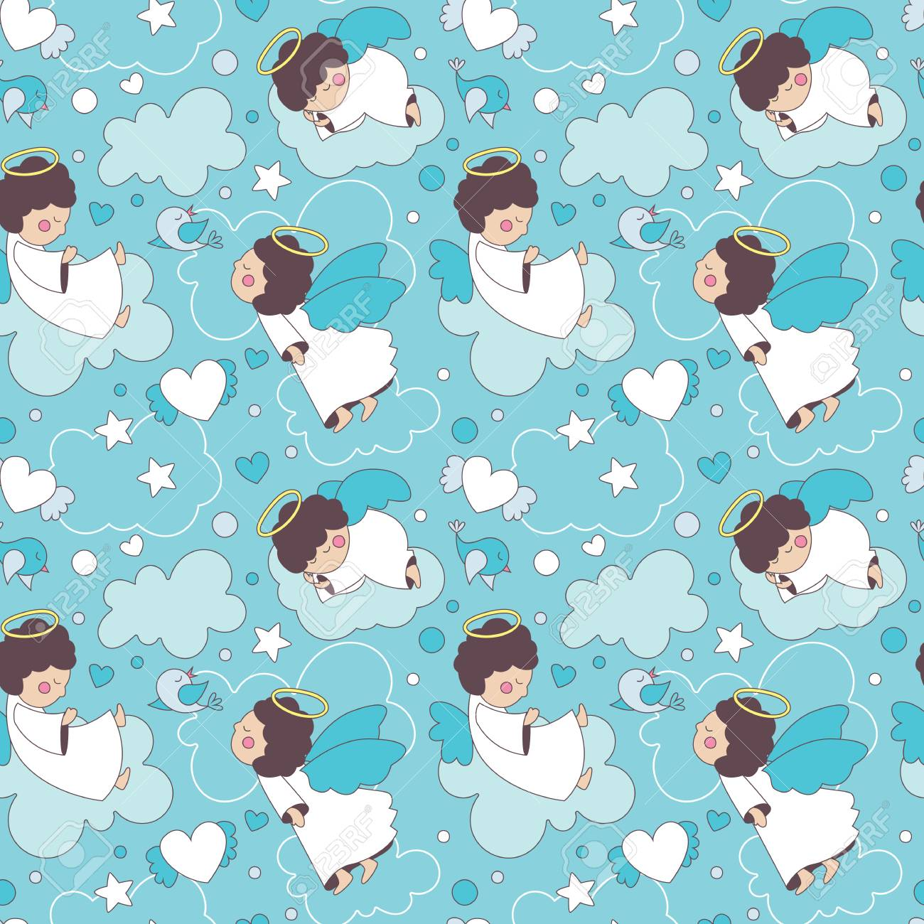 seamless cute cartoon pattern with angels, baby, kid, children