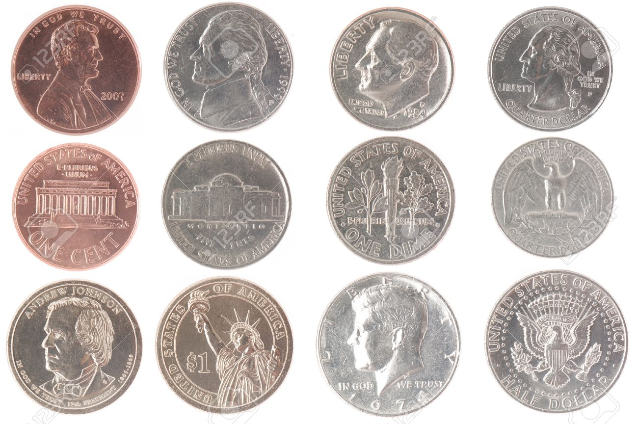 Set Of Isolated Coins From American Currency Including Front ...