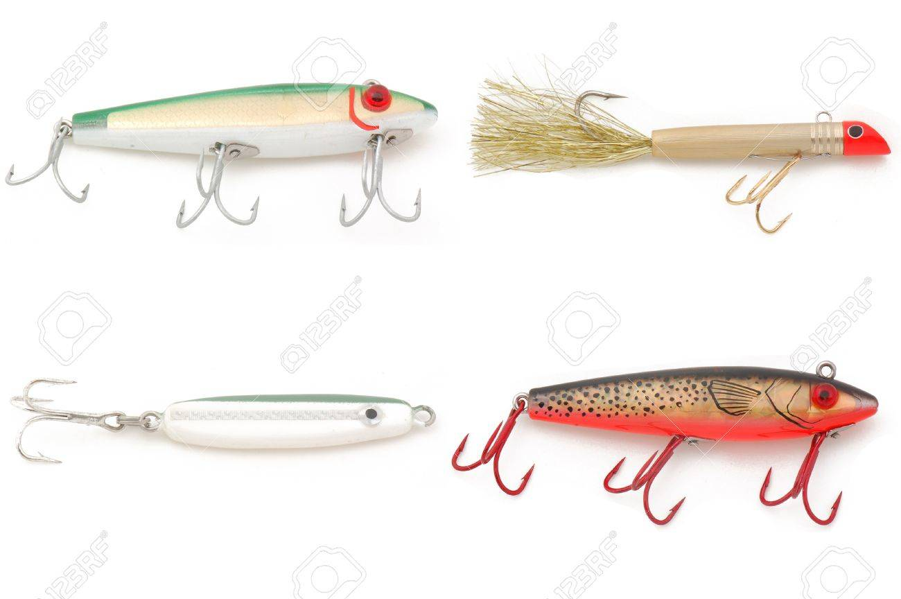 collection of saltwater fishing lures isolated on a white, Reel Combo