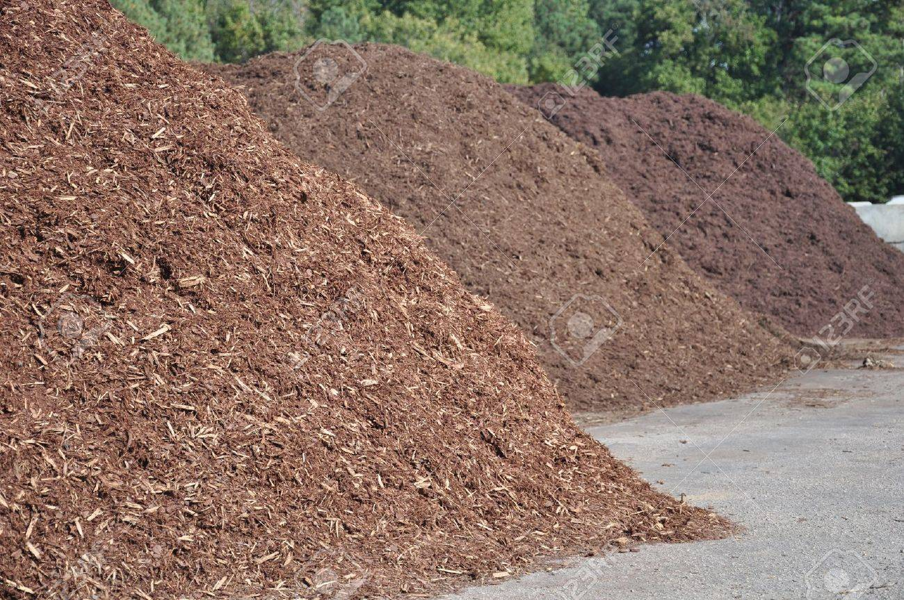 Stock Photo   Three Different Types Of Mulch Offered For Sale At A Garden  Supply Center