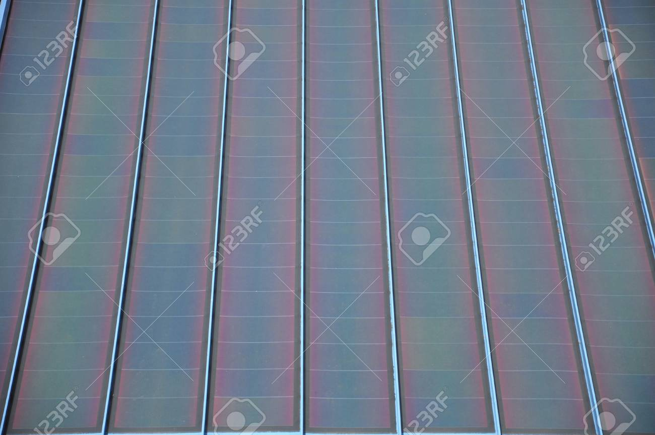 Bank of modern square style solar panels Stock Photo - 15217263