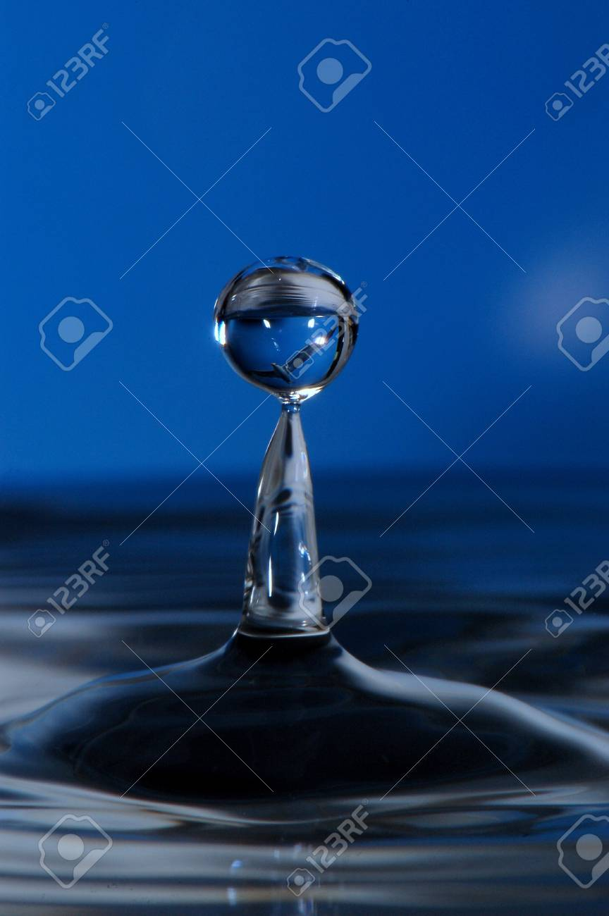 water droplet with a blue background, and seabird image inside droplet Stock Photo - 15216917
