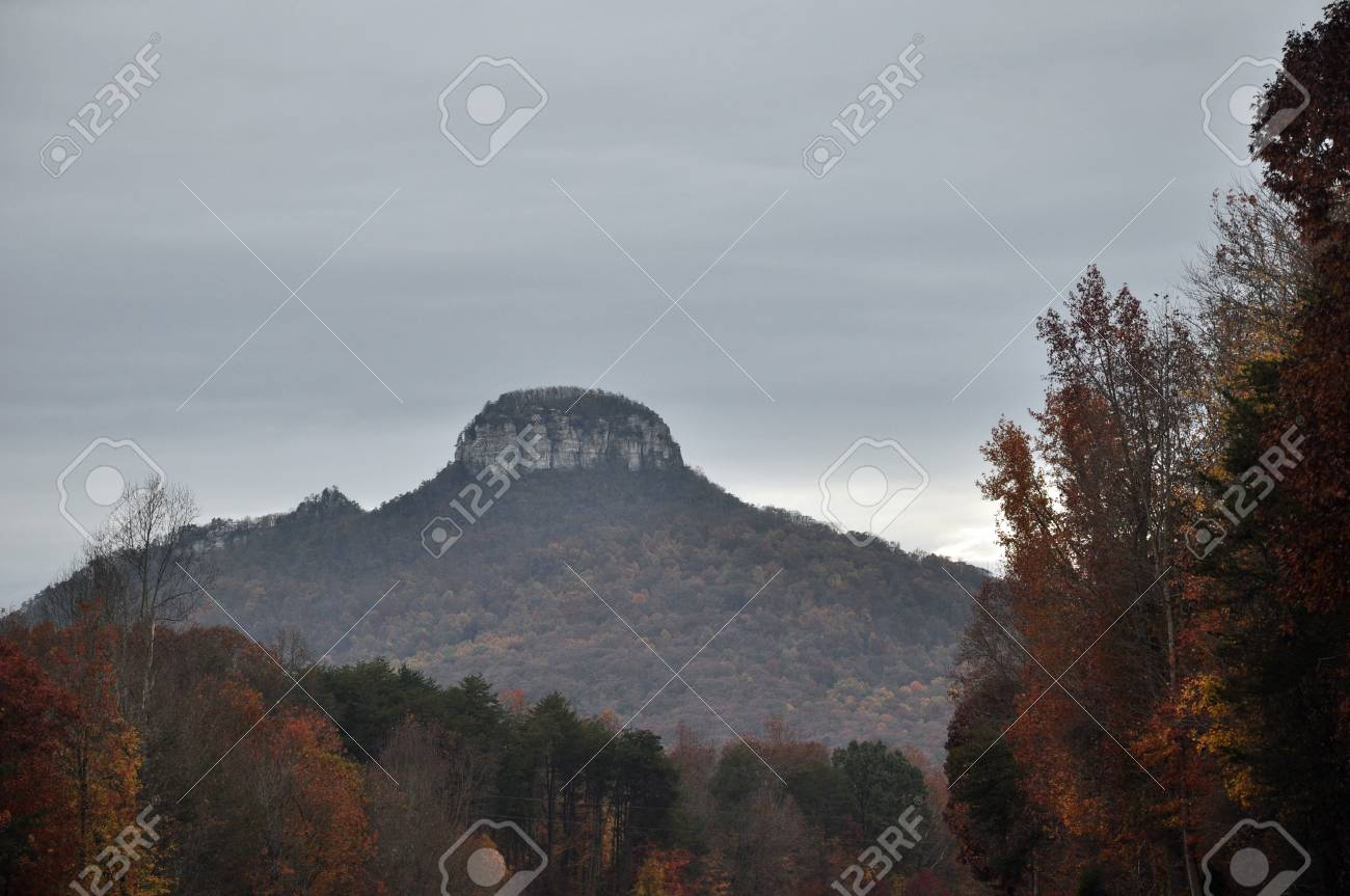 Autums scene of Pilot Mountain in western North Carolina Stock Photo - 24226429